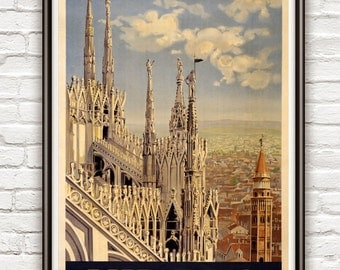 Vintage Poster of Milan Milano Italy Italia  1920 Tourism poster travel