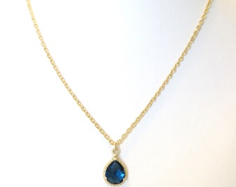 Sapphire Blue Necklace Gold Necklace Blue Bridesmaid Necklace Blue Wedding Jewelry Navy Blue Royal Blue Gift Crystal Jewelry