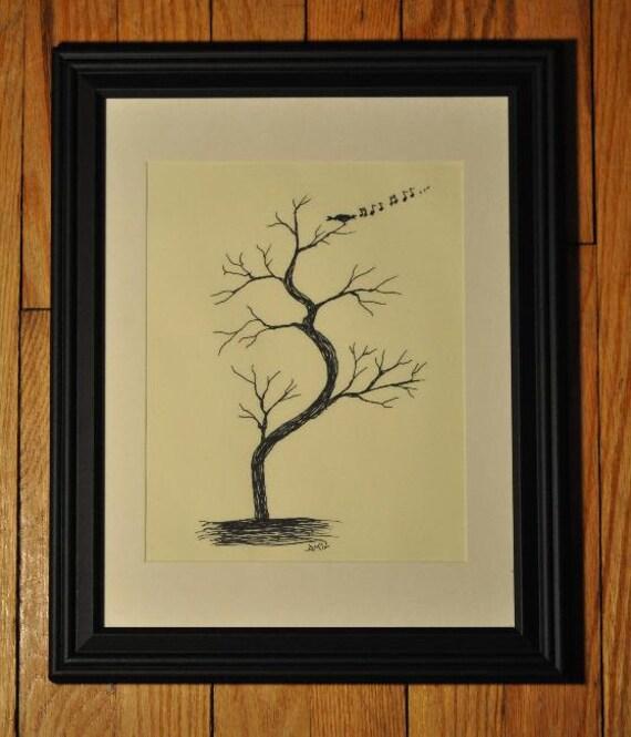 BIRDSONG Pen & Ink Framed Print -- FREE Shipping!