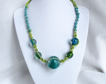 Hemp Necklace with Lime Green and Blue Glass Beads