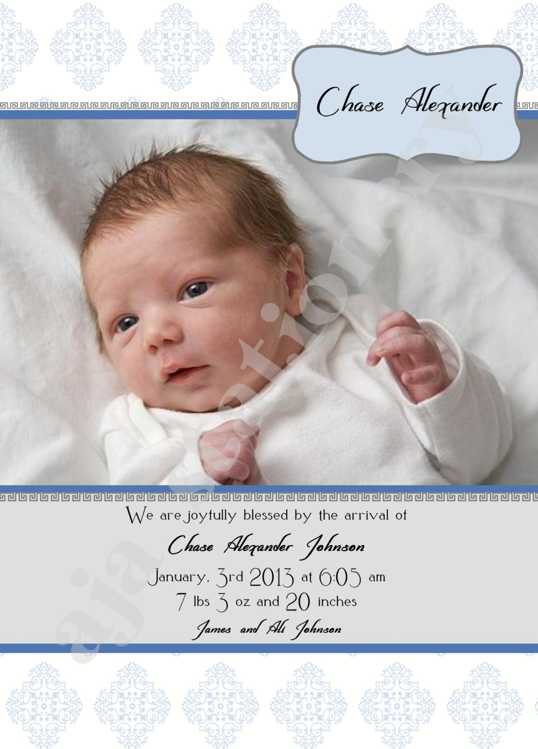 Scripture Inspired Birth Announcement Baby Boy UPrint – Bible Verses for Baby Announcements