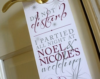 Hotel Wedding Door Hanger - Script, Curls, Swirls, Stars