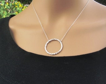 Hammered Silver Circle Necklace, Silver Circle, Hammered Necklace ,Silver Necklace, Layering Necklace