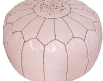 Moroccan Poufs Set of 2 Designer Pastel Pink luxury Leather Poufs Hand Stitched and Embroidered