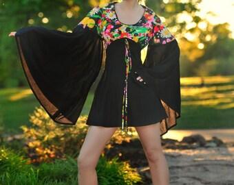 "The ""Witchy Woman Dress"" Angel Sleeve True Vintage Mini Dress 60s 70s Black Mod Minidress Sl"
