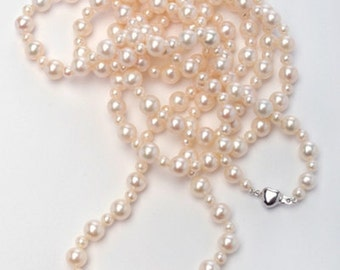Extra-Long White Pearl Necklace