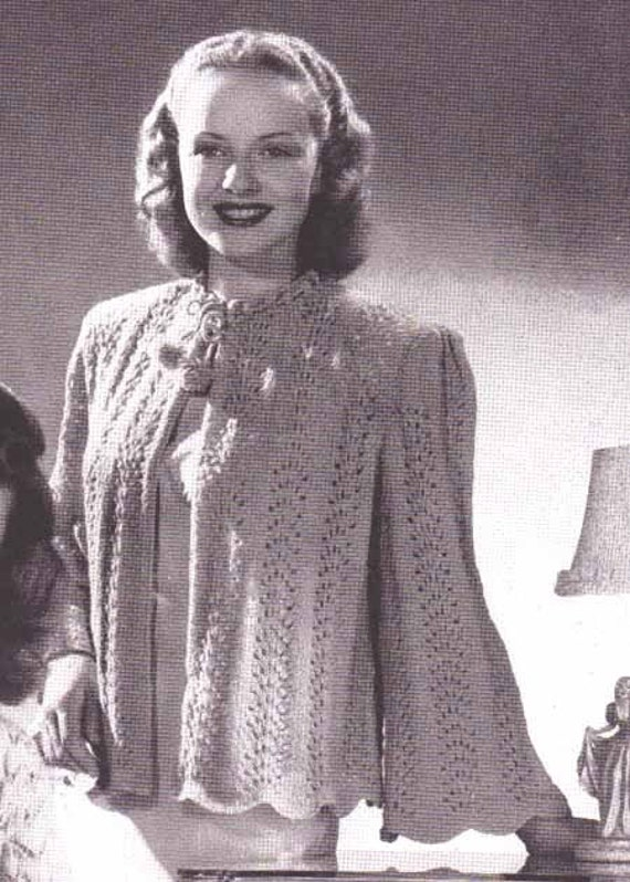 Vintage Bed Jacket Knitting Pattern : Items similar to Ladies Bed Jacket 1940s Vintage Knitting Pattern Feather and...