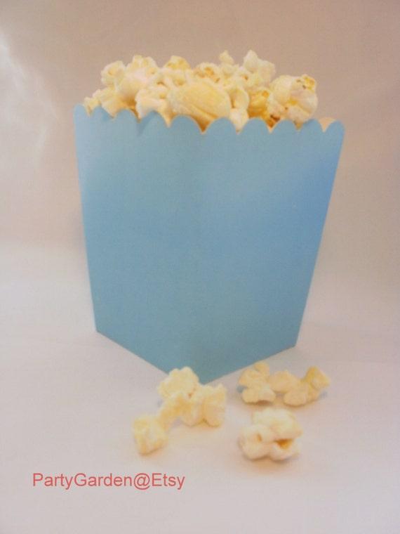 Blue Popcorn Favor Boxes : Mini light blue popcorn boxes treats favors by the