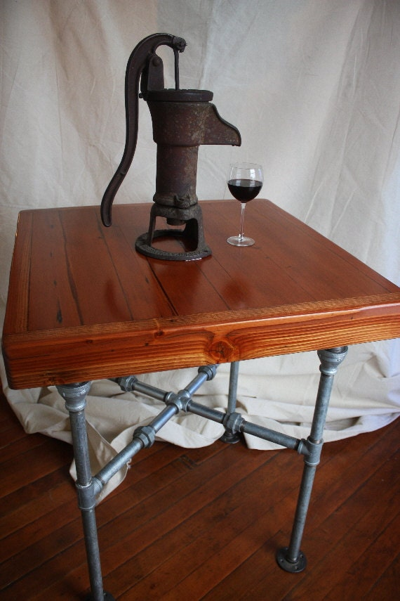 Items Similar To Kitchen Island Pub Table Reclaimed Barnwood And Fir Beams With Galvanized Pipe