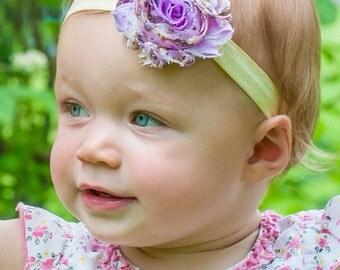 The Purple Floral Shabby Chic Headband or Hair Clip