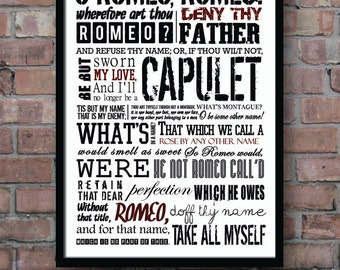 ROMEO and JULIET Poster, Shakespeare quote, Literature print, Shakespeare poster, Movie poster, Wall Decor, Typography