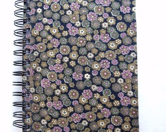 Pink, Gold, & Green Floral Fabric-Covered Notebook