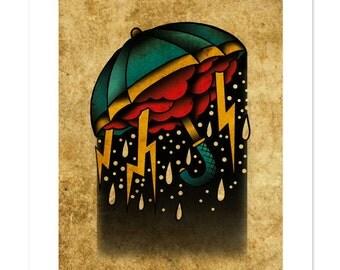 Umbrella Storm, Neo-Traditional Tattoo Flash, Old School, Art Print 12x16