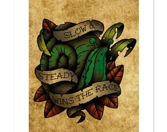 Snail (slow and steady, wins the race), Neo-Traditional Tattoo Flash, Old School, Art Print 12x16