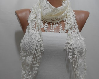 Cream Lace Scarf Shawl Summer Scarf Creamy White Wedding Scarf Spring Scarf Bridal Accessories Women Fashion Accessories Gift Ideas For Her