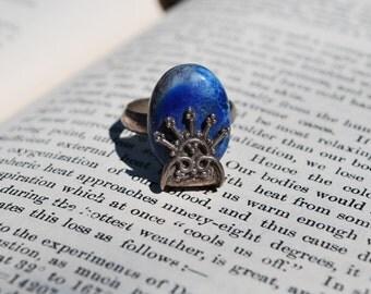 Vintage Ornate Sterling Silver Blue Gemstone Ring Size 8