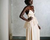 Peplum Wedding Dress Handmade Gown in Ecru Silk Chiffon and Organza - Iris Gown - JillianFellers