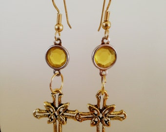 PREY Amber Gold Cross Earrings
