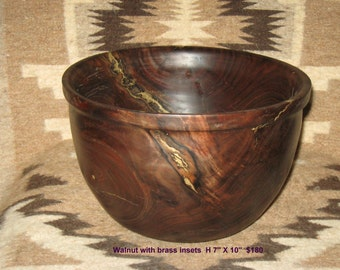 Black walnut Hand Turned Bowl - brass inserts - 11 inches wide and 7 inches tall