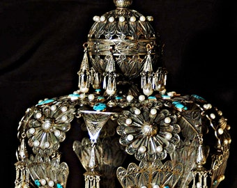 Crown for Torah scroll / Sefer Torah - sterling silver filigree, rose gold, turquoise and pearls