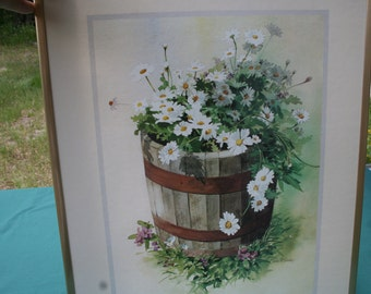 VIntage shabby chic daisy picture , daisies in a barrel picture