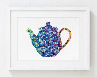 Teapot Art Watercolor Painting - 5x7 Archival Print - Blue, Green, Purple Teapot Geometric Art - Silhouette Art Wall Decor, Kitchen Decor