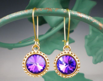 SALE Violet Blue Rivoli Rhinestone Earrings Swarovski Heliotrope Jewelry