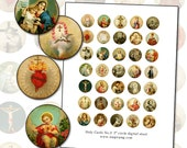 Antique Catholic Holy Cards III  Digital Collage 1 inch size for altered art collage mixed media 1x1 25.4mm 25mm