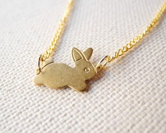 Bunny Necklace - Animal Jewelry - Brass Bunny Necklace - Bunny Jewelry - Christmas Gift (N026)