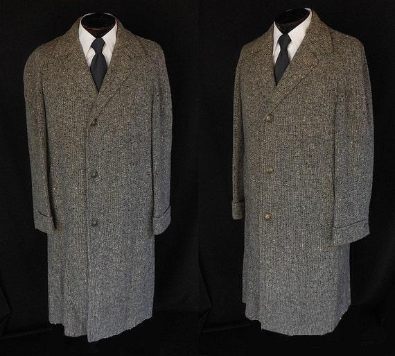 SALE Vintage 40s 50s Men's Top Coat 1940s 1950s Wool