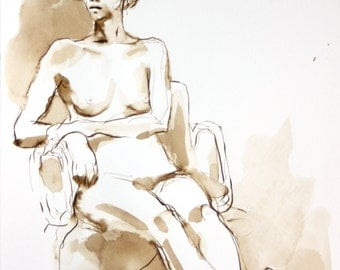 Figure Drawing - Seated Nude - Ink on Paper