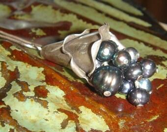 Cornicopia of Sea Grapes Pearl and Sterling Silver Pendant