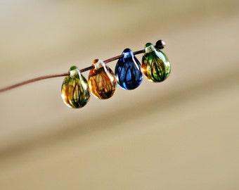 Summer Rain - Czech Glass Beads, Translucent Amber, Capri Blue, Teardrops 9mm - Pc 15