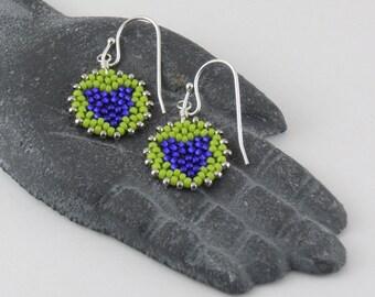 Beadwoven Heart Mandala Earrings ( cobalt blue / spring green ) - - - sterling silver earrings/ Contemporary/ Vibrant/ Unique Gift for Her/