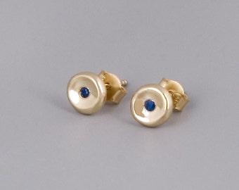 Gold Sapphire Stud Earrings, 14K Gold Stud Earrings, Solid Gold Posts, Sapphire Studs, Blue Sapphire, Delicate Gold Earrings, Minimal Studs