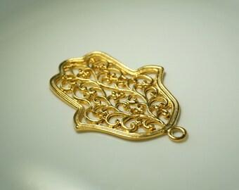 1 pc Matte 22K Gold Plated Base Hand of Hamsa Pendant- HAnd 70x43mm-(003-015GP)