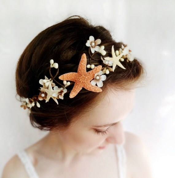 seashell headpiece, starfish headband, seashell hair accessories, starfish headpiece, seashell crown, starfish hair piece, beach wedding,