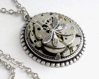 Silver Steampunk Necklace Handmade Jewelry - Time to Fly