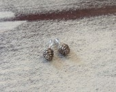 Pine cone ear studs -Sterling silver pine cone earrings-Natural inspired earrings-Woodland jewelry-Dainty earrings-Nature cast-Gift under 40
