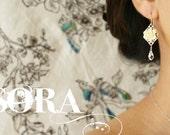 Bridal earrings, bridesmaid jewelry, bridal jewelry set, ivory rose Swarovski crystal drop earrings custom wedding party bridesmaid earrings