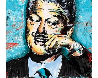 Bill Clinton - Free Mustache Rides - 12 x 18 High Quality Art Print