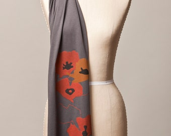 poppy scarf, poppies scarf, gray cotton scarf, poppy screenprint