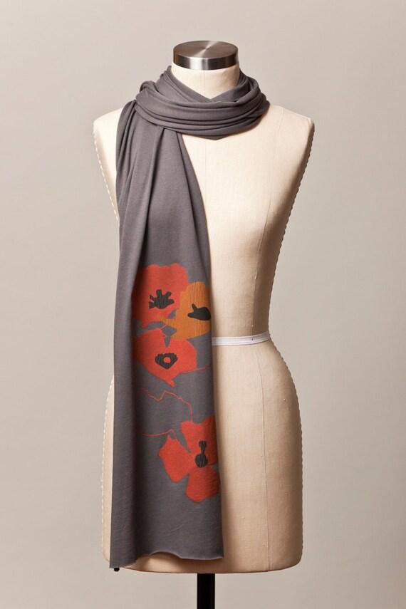 jersey scarf, poppy scarf, poppies scarf, red poppy, red poppies, gray poppy scarves