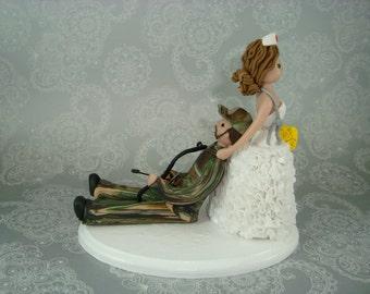 Personalized Wedding Cake Topper Nurse Dragging Hunter