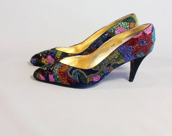 Vintage Heels Beaded Pumps Sparkling Women's Shoes Size 6 1/2