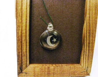 Etched Glass Moon and Star Pendant Lampwork Necklace Pendant Jewelry Supply #216
