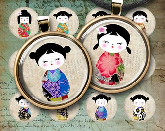 1 inch (25mm) and 1.5 inch images KOKESHI DOLLS Circles Digital Collage Sheet Printable for round pendants bottle caps magnets cbouchons
