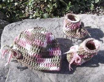 Pink Camouflage Hat and Boots Set - baby girl - newborn to 6 mo sizes - made to order