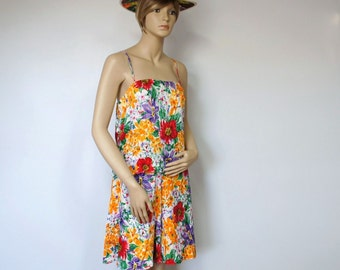 Vintage Silk Suit Shorts Set Ann French Tropical Floral Shorts and Top Tropical Beach Aloha Culottes Size 8