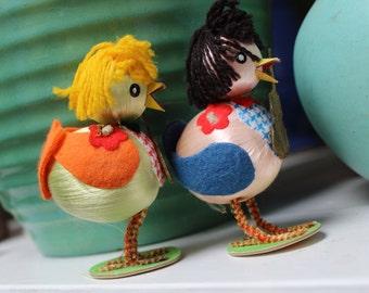 2 Easter Novelties Chicks Pair Japan musical Violin VINTAGE by Plantdreaming